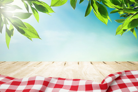 Sunlight on summer sky with wooden picnic table in red tablecloth Stockfoto