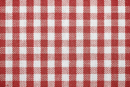 red tablecloth: Empty table with red tablecloth Stock Photo