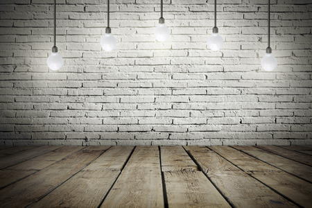 damaged: Industrial interior with wooden floor and brick white wall and bulb light on the roof