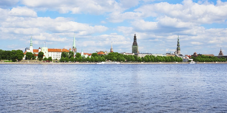 Riga president castle and old town Stock Photo