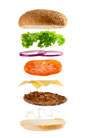 Big meat burger ingredients isolated on white