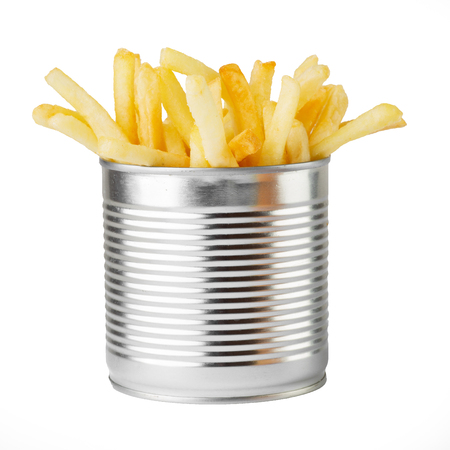Fried potato in metal can