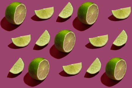 Pattern of the cut lime on color background
