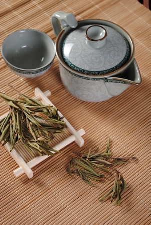 Kung Fu Tea set on bamboo mat Archivio Fotografico