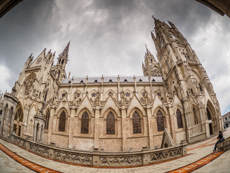 wide angle lens: Basilica of the National Vow. Quito, Ecuador. Picture taken with wide angle lens.
