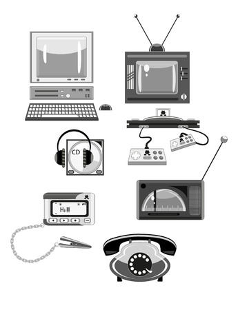 pager: Set of retro devices in shades of gray. Illustration