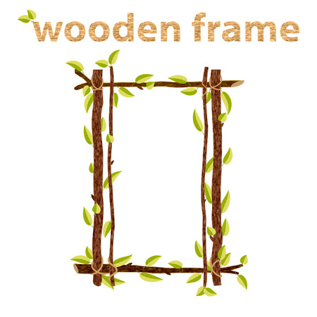 twigs: Frame made of branches and leaves. Illustration