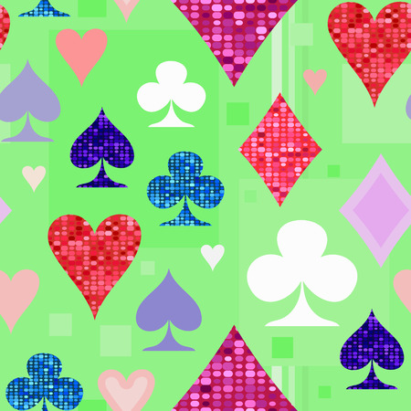 Symbols of playing cards on a light green background. Illustration