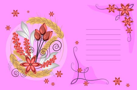 Autumn or summer floral arrangement on a pink background.