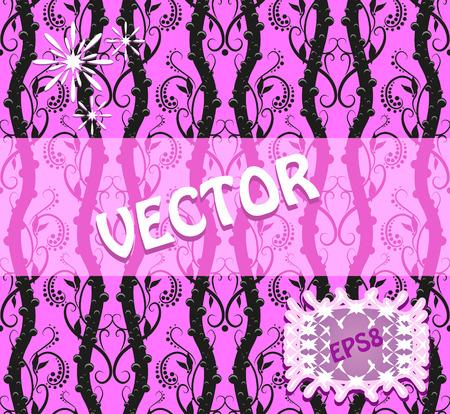 ピンクの背景の渦と普遍的なシームレス パターン。