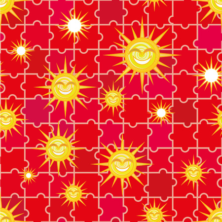 suns: Seamless pattern - suns on a red background. Illustration