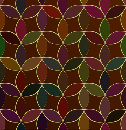 Stained glass claret multicolored seamless abstract mosaic pattern.