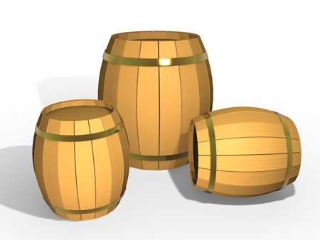 3d illustration. Three wooden barrels on a white background. Stock Photo