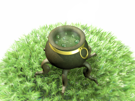 3d illustration. Magical pot with magic potion on a glade.
