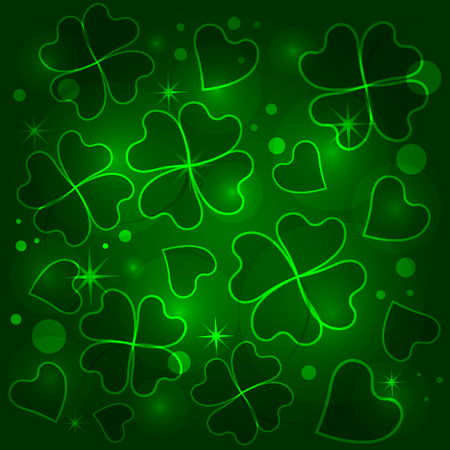 Green four-leafed clover pattern. Illustration