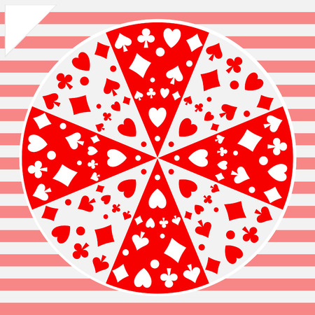 Round geometric vector pattern of playing card icons.