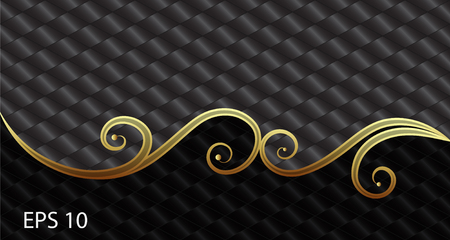 Black and gold vector geometric elegant background. Illustration