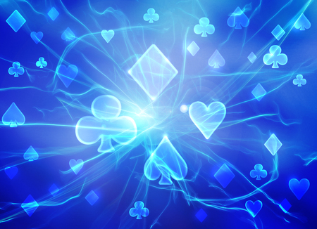 Light blue raster pattern of playing cards symbols. Stock Photo