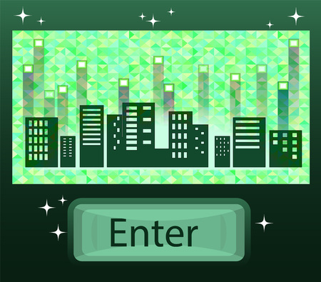 Virtual City on a digital background. Vector illustration. Illustration