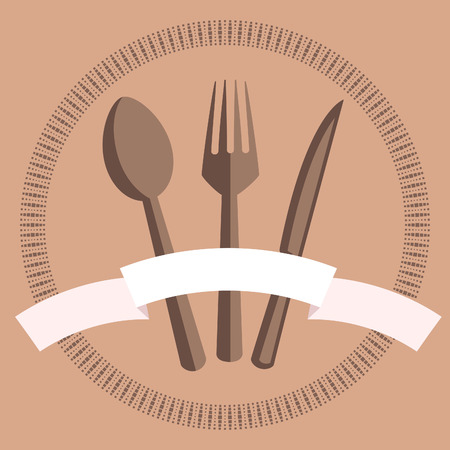The image of cutlery, in a circular ornament, on a light background.