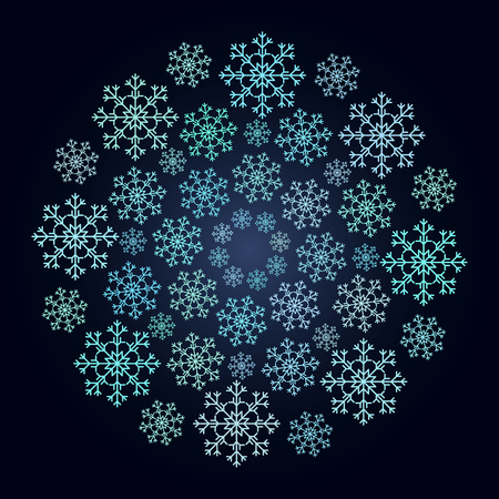 Vector circulaire sneeuwvlok patroon. Stock Illustratie