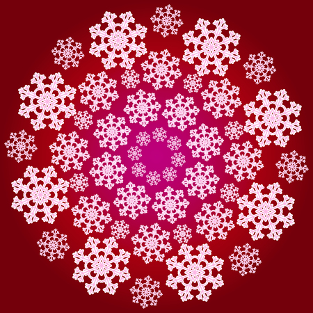 Vector red circular snowflake pattern. Illustration