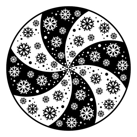 Black and white swirling circular symbol of snowflakes.