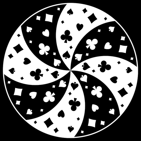 Black and white circular swirling pattern symbols of playing cards. Vector illustration. Illustration
