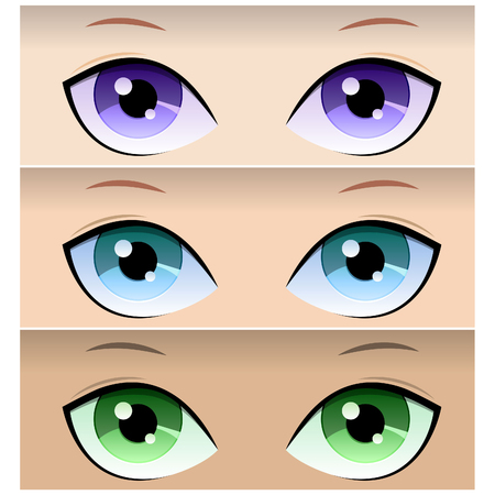 Anime eyes. Three pairs of female eyes of different colors. Vector illustration.