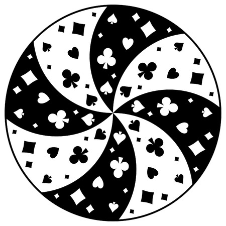 Round abstract pattern of playing card icons. Illustration