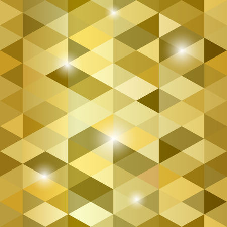 Vector seamless polygonal gold abstract background.