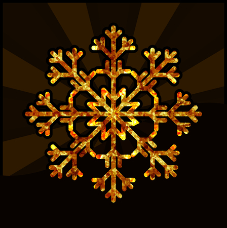 Yellow snowflake on a dark background. Illustration