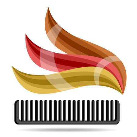 Comb and hair curls on a white background. Vector.