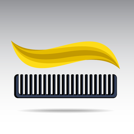 Yellow curl over a dark comb on a light background.