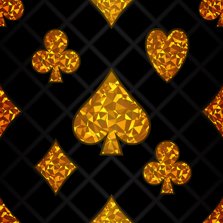 Seamless abstract pattern of playing card icons.