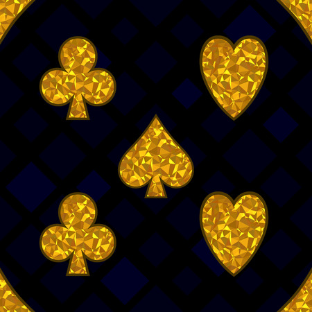 Polygonal yellow symbols of playing cards on a black background. Vector Seamless Pattern.