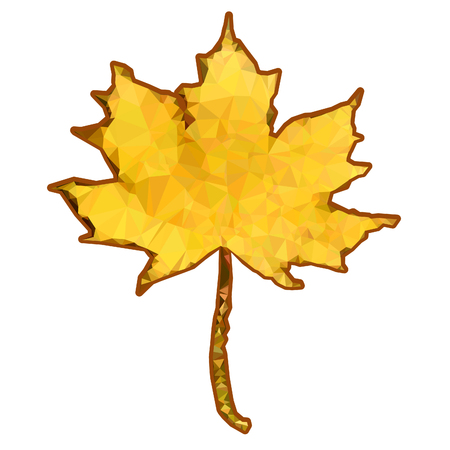 A polygonal maple leaf on a white background. Vector illustration. Illustration