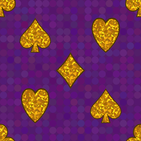 Polygonal yellow symbols of playing cards on a purple background. Vector Seamless Pattern.