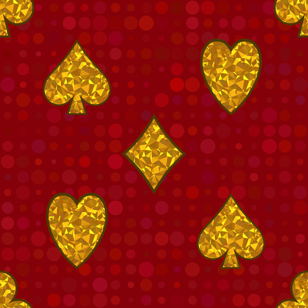Polygonal yellow symbols of playing cards on a red background. Vector Seamless Pattern. Illustration