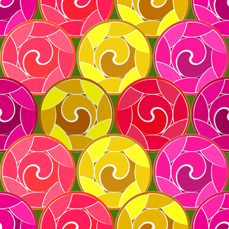 Stylized colored roses. Vector Seamless Pattern. Illustration