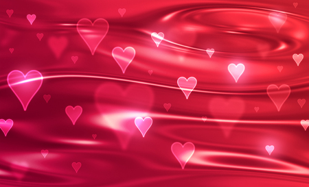 Blurred red background with symbols of hearts.
