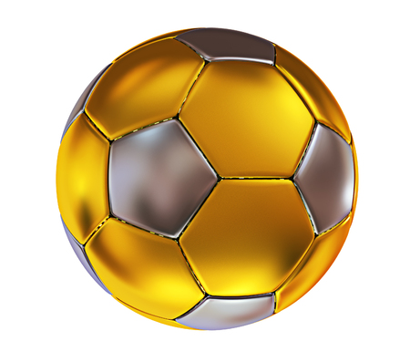 3d illustration. Golden soccer ball isolated on white background.