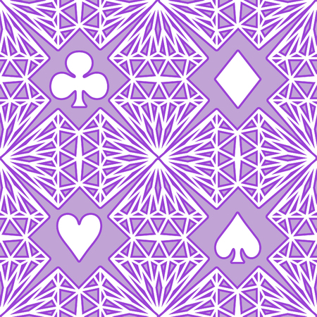 Abstract vector purple pattern of playing card symbols. Seamless.