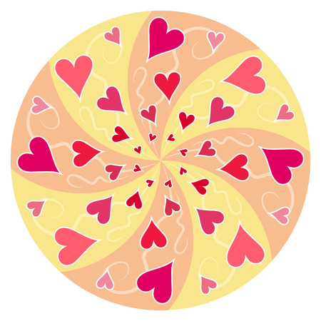 A circular swirling pattern of red hearts on a white background. Vector.