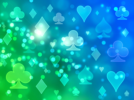 Blue and green light blurred pattern of playing card icons. Stock Photo