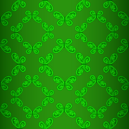 Vector geometric seamless pattern of green butterflies.