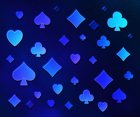 Relief symbols of playing cards on a blue background.
