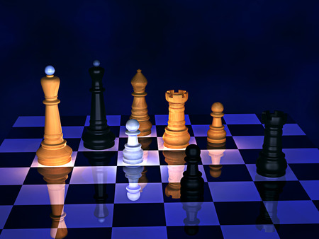 3d illustration. Wooden chess on a dark abstract background.