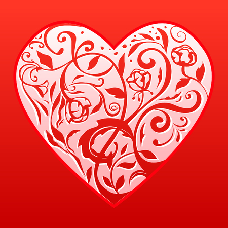 Red romantic heart on a red background. Vector floral pattern. Illustration