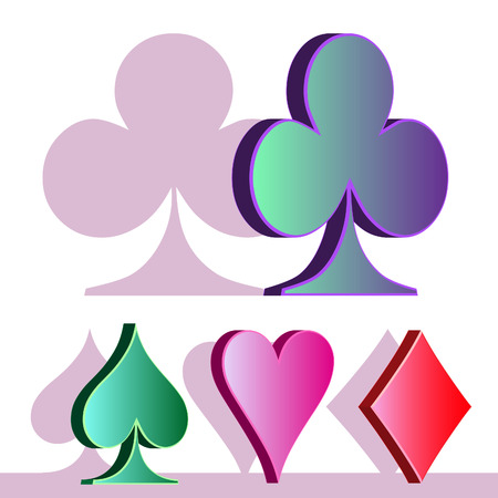 Symbols of a card game isolated on a white background. Vector illustration.